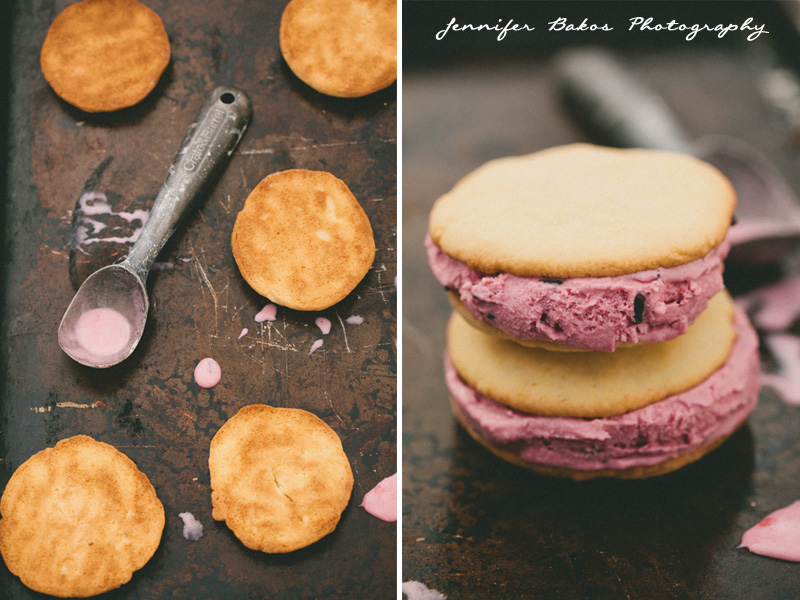 Cookies, Ice cream, ice cream sandwich, raspberry, cherry, vanilla, food photography, NH Food Photographer