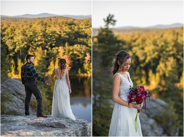 elopement, new hampshire elopement, mountain elopement, autumn elopement, fall elopement, fruition flowers, flannel, flannel groom, gray wedding dress, grey wedding dress, october wedding, new england elopement, new england, new england wedding, small wedding, styled shoot, styled wedding, autumn bouquet, cider donuts, donut tower, cider donut tower, donut wedding, apple cider, mountain views, nh wedding photographer, new hampshire wedding photography, new hampshire, pond,